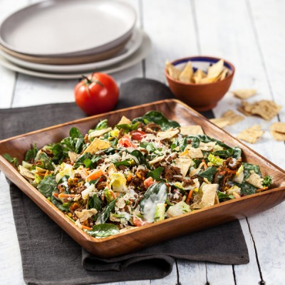Beef Taco Salad with Creamy Garlic Aioli