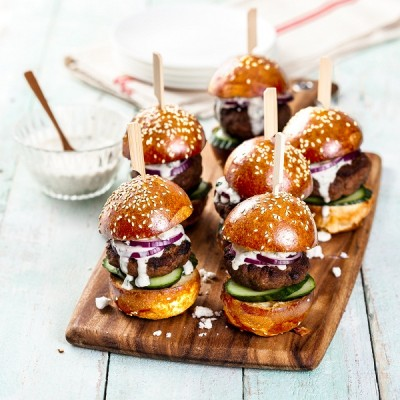 Succulent Lamb and Feta Sliders with Minted Aioli