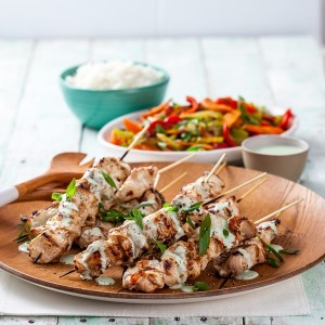 Garlic Chicken Skewers with Avocado Dressing